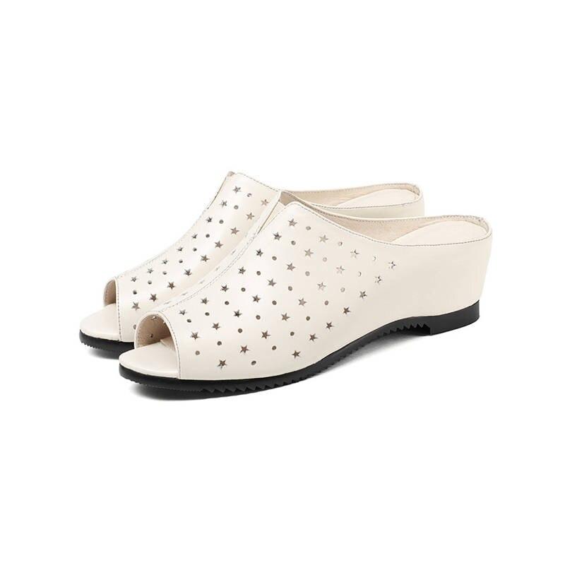 Mode Schuhe H Echtes Peep he Sandalen Zunehmende Beige Frauen Moonmeek Schwarz High SchwarzBeige Sommer Leder Toe Heels Frau QrdoCEBWxe