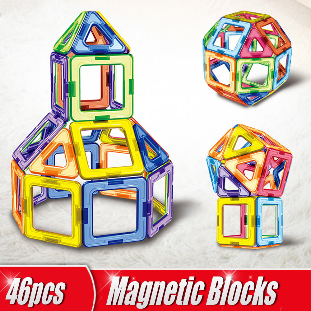 46pcs/Set Magnetic Designer Magnet Blocks Construction Toys Set Modeling&Buillding Toy For Children Kids Gifts