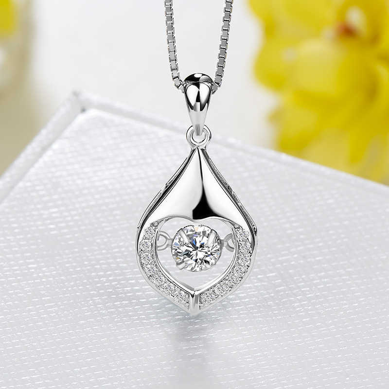 Wholesale Pendant Sterling Silver Chain 925 Heart Pattern Zircon Diamond Jewelry Wholesale Dynamic Accessory Clavicle Necklace