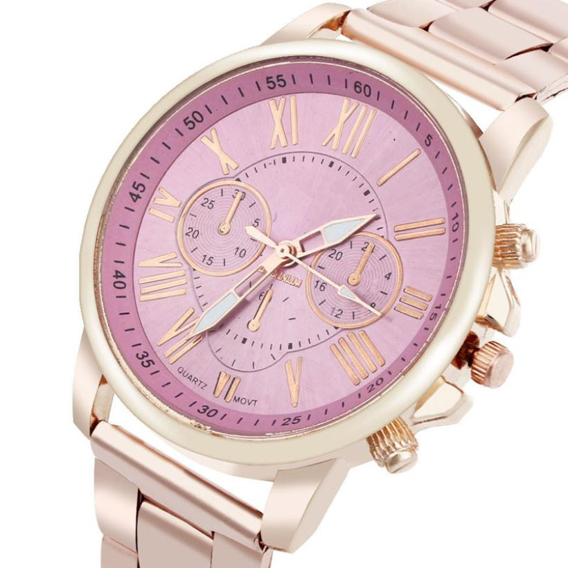 BAOLANDE2016 Hot Sale Roman Number Geneva Stainless Steel Quartz Sports Dial Wrist Watch Pink Good looking