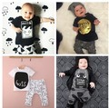 2016 Newborn baby clothing set t shirt + pants boys clothes 3t home wear baby outfits infants pajamas cartoon baby clothes set