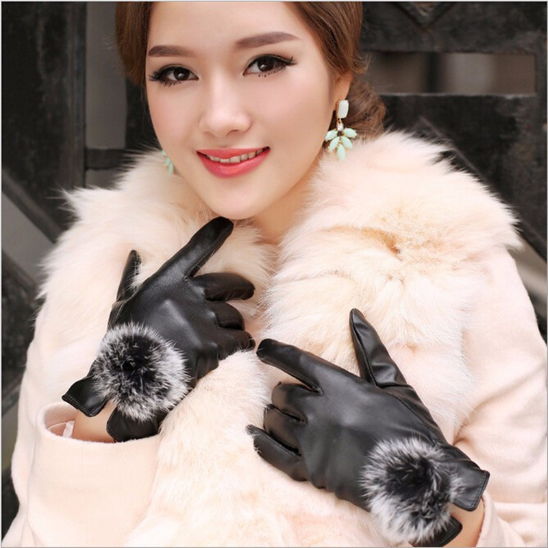 1 Pair 2018 Beautiful Rabbit Fur Ball PU Leather Gloves For