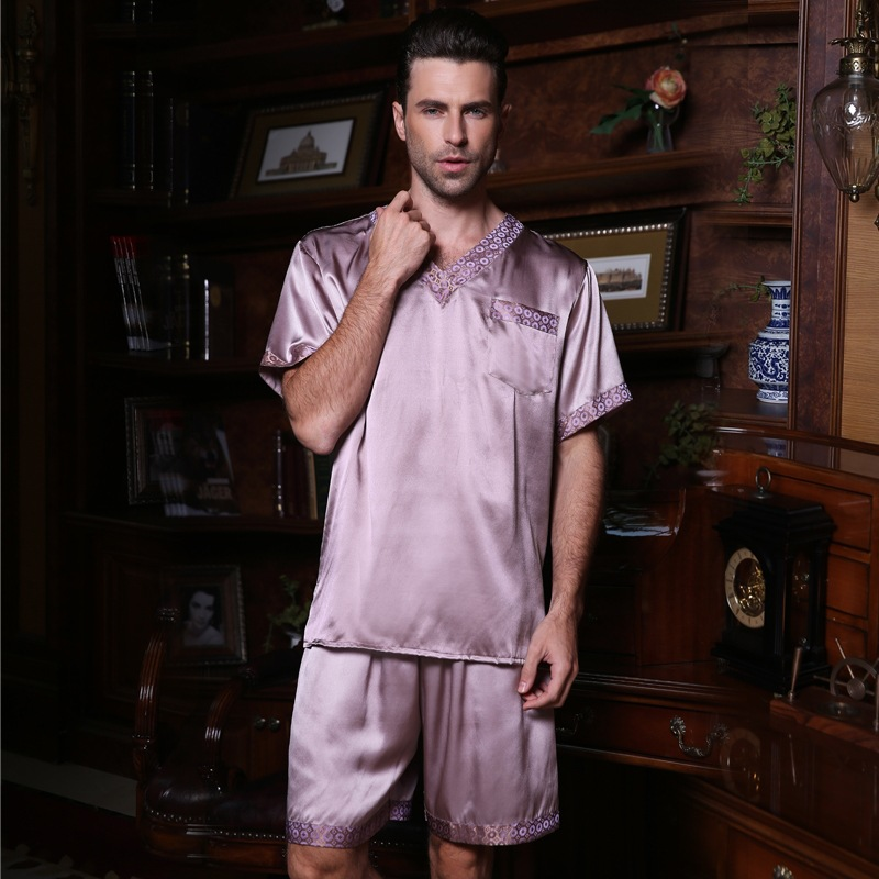 Genuine Silk Pajamas Male Summer Short-Sleeve Shorts Two-Piece Pyjama Sets Sexy V-Neck Silkworm Silk Men's Sleepwear 2612