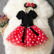 Нарядное платье принцессы для девочек на первый день рождения, платье с мышкой для маленьких девочек, одежда, наряды платья на крестины, 12 ме...