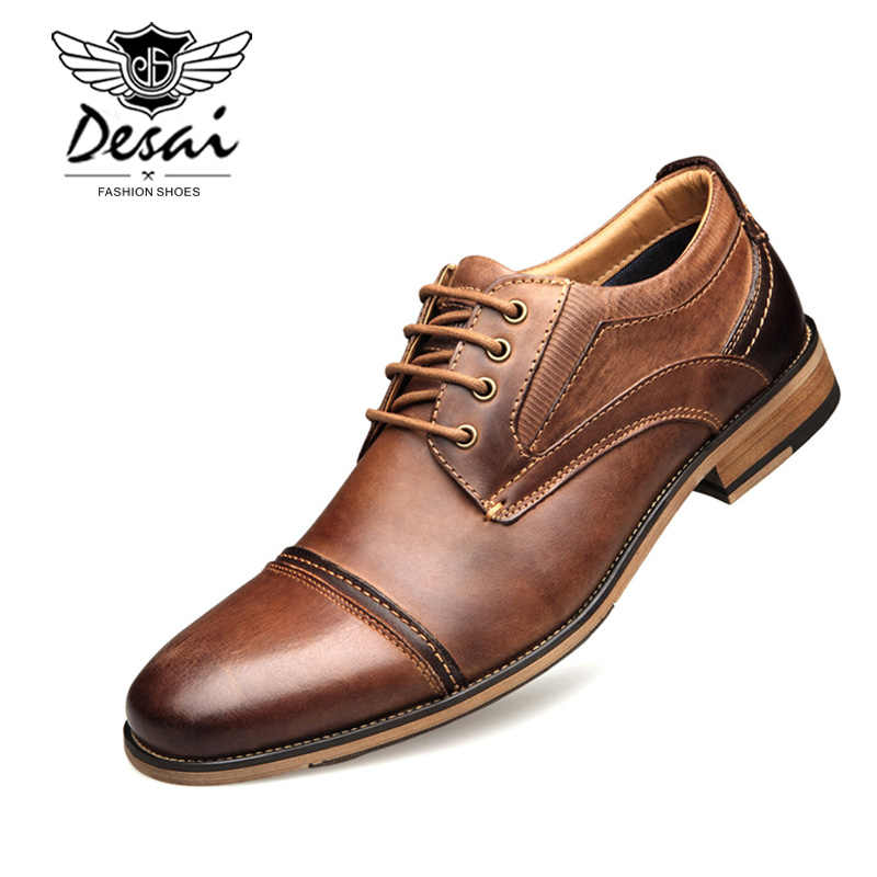 DESAI Brand Business Dress Shoes Men First Layer Cowhide Large Size Men s  Shoes Formal Genuine Leather 33af5c992255