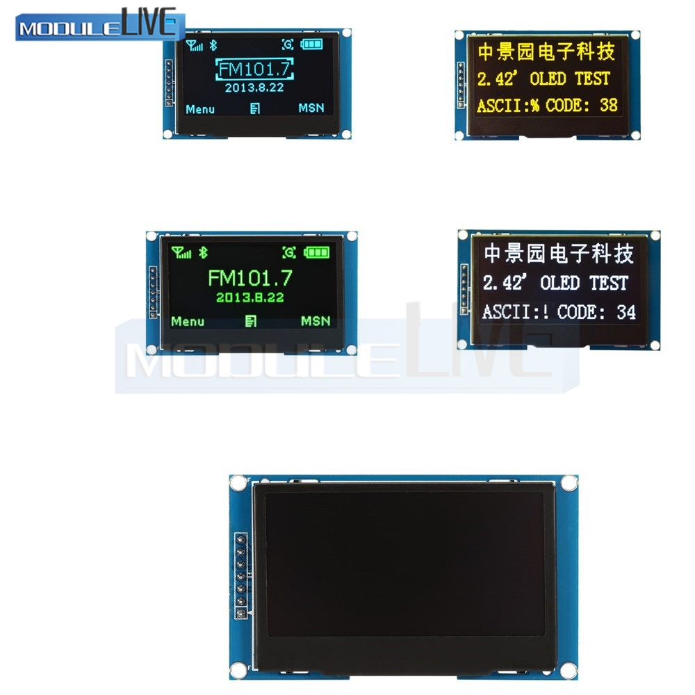2.42 inch LCD Screen 12864 OLED Display Module IIC I2C SPI Serial C51 STM32 SSD1309 for Arduino 128X64 White/Blue/Green/Yellow new iic i2c twi spi serial interface board module port 5v lcd adapter converter module compatible for lcd1602 2004 lcd