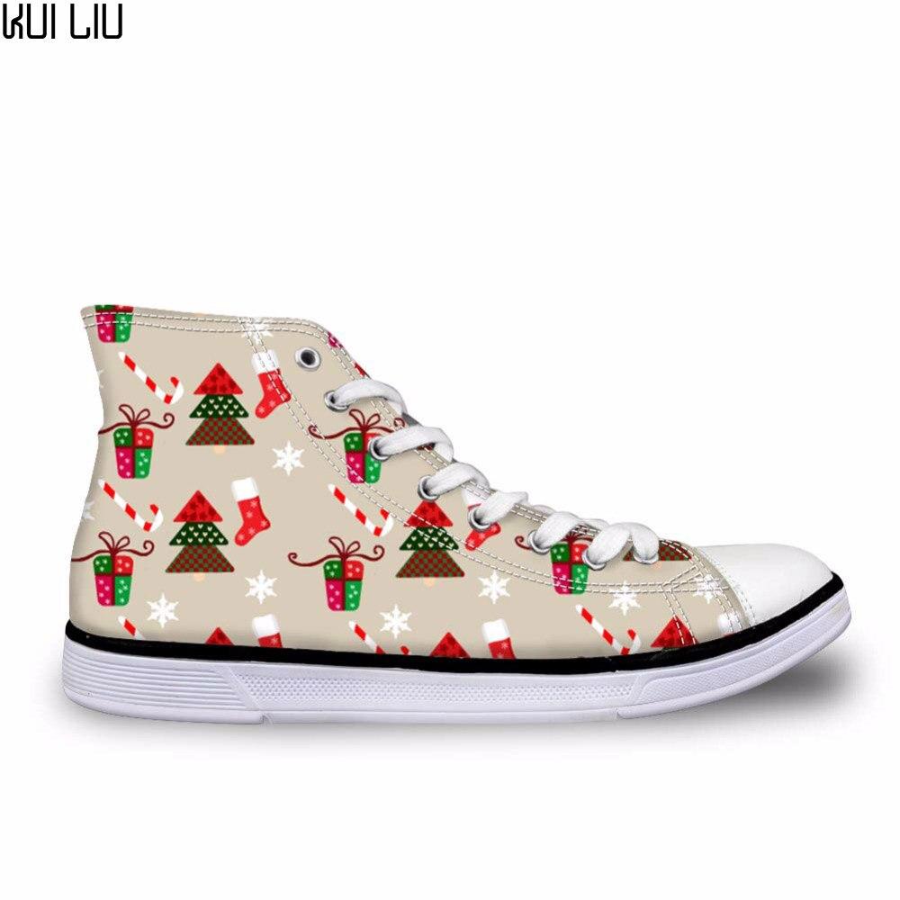 Female Cute Vintage Woodland Christmas Frenchie Casual Vulcanize Shoes Women 3D Denim Pocket Cartoon High Top Canvas Shoes Woman