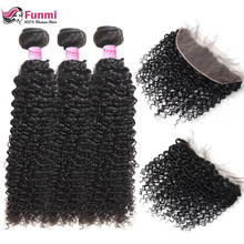 Funmi Mongolian Kinky Curly Hair 3 Bundles With Frontal Closure 100% Virgin Human Hair Bundles With Frontal 13X4 Free Shipping(China)