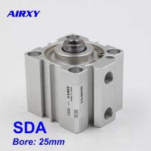 SDA pneumatic piston bore 25mm stroke 5-100mm  double acting SDA25 compact air cylinder male SDA25-10 SDA25-15