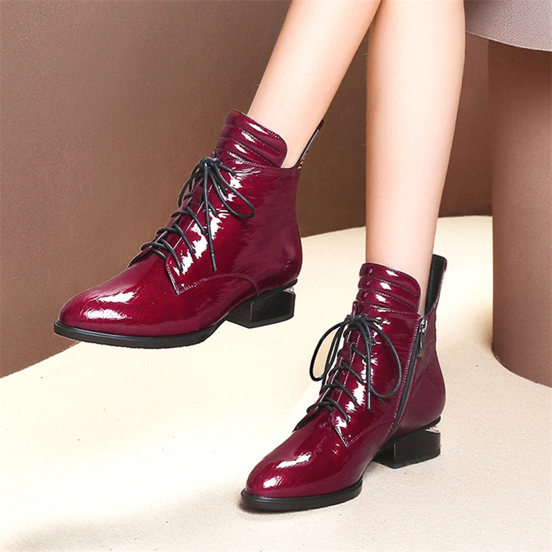 FEDONAS 1Fashion Women Ankle Boots Autumn Winter Warm Patent Leather High Heels Shoes Woman Cross-tied Round Toe Ladies Boots