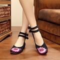 2016 nó Chinês Retro Mulheres Sapatos Bordados Apartamentos Flor Do Vintage Da Moda Floral Ocasional Único sapatos de Dança Sapatos Zapatos