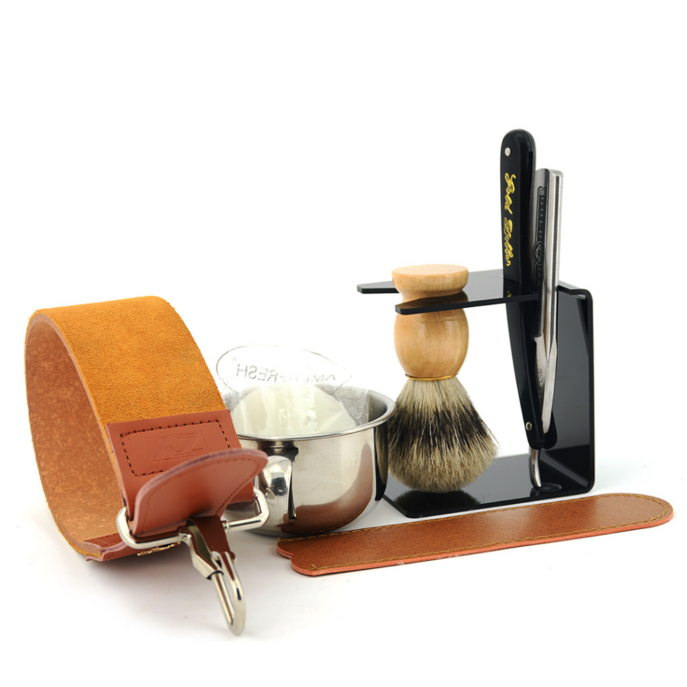 ZY Straight Shave Razor Gold Dollar 66 Best BADGER Shaving Brush Soap Bowl Genuine Leather Sharpening Strop Men Shave Beard Set