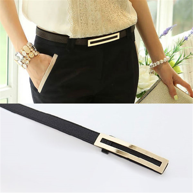 Luxury Metal Buckle Thin   belt   classic wild female minimalist thin   belt   Straps Waistband Cummerbund For Apparel Accessories 2018