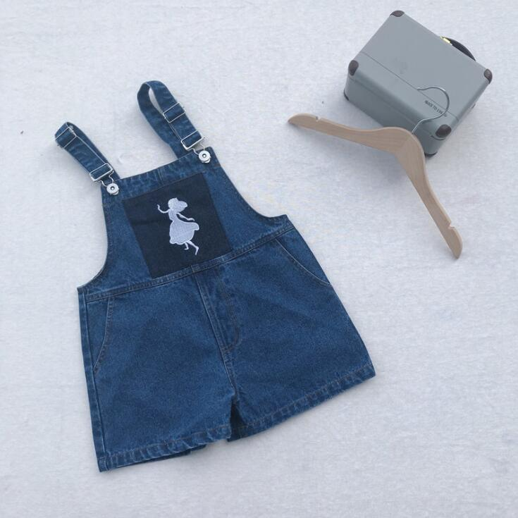 2019 new girls denim  overalls summer fashion pocket  girls shorts 1-7 Years HY936