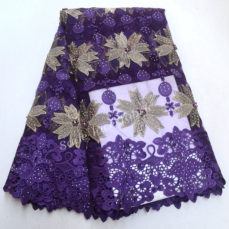 FolaSade African Embroidered Flowers Tulle Lace Latest Nigerian Beaded Stones Guipure Lace Fabrics African Bridal Fabric TY759