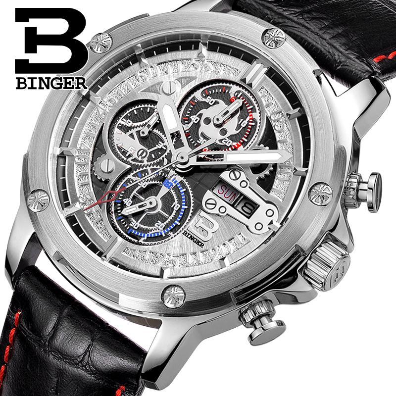 leather B6009-3 Week's glowwatch
