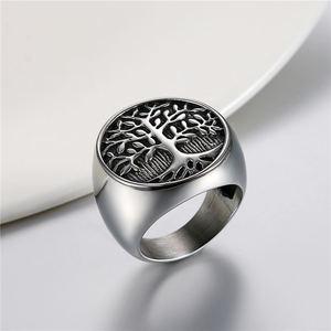 Мужское кольцо в стиле панк Boniskiss, серебряное кольцо в форме дерева жизни из нержавеющей стали