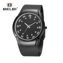 hot deal buy 2016 mens watches top brand luxury belbi three colors stainless steel waterproof gold mens watches quartz-watch erkek kol saati