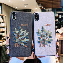 Sewing SFor Case iPhone XS case Max XR case x embroidery case For iPhone 8 7 Plus Lovely animal Cloth Coque For iPhone 6 6S Dog 5