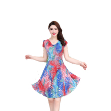 New Summer Fashion Woman Print Heap Collar Dress Ice Silk Floral Milk Large Swing Size S-4XL