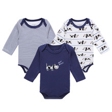 3 Pack Baby Boy Bodysuits with Long Sleeves 100% Cotton Cute Dogs Print Snap Buttons 0-12 Months