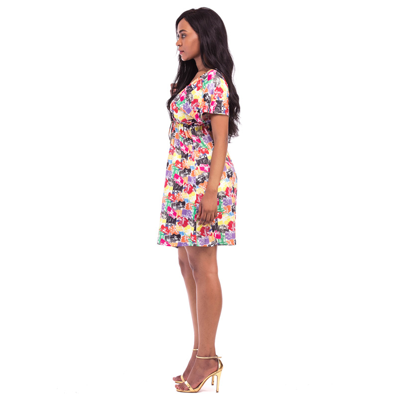 a79cb825563 Jessie Vinson Fashion Women Plus Size V neck Backless High Waist Colorful Printed  Dress Sexy Beach Short Dress 9 Colors-in Dresses from Women s Clothing on  ...