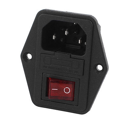 цена на AC 250V 10A 4P Red LED Rocker Switch Fuse Holder Inlet Power Socket Screw Mount