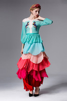 2016 Spring Summer Bird Embroidery Bohemia Layered Dress Woman Long Dress Fashion Woman Party Dress S