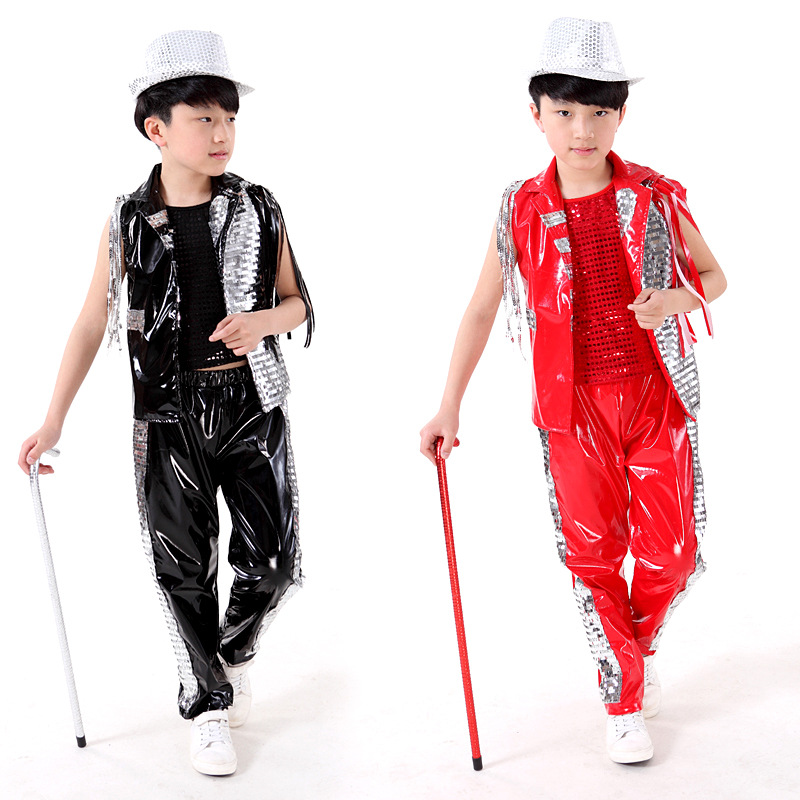 Free shipping,red black PU children boy girl flashing sequins Jazz hiphop stage dance costume shirt vest pants ballroom clothing