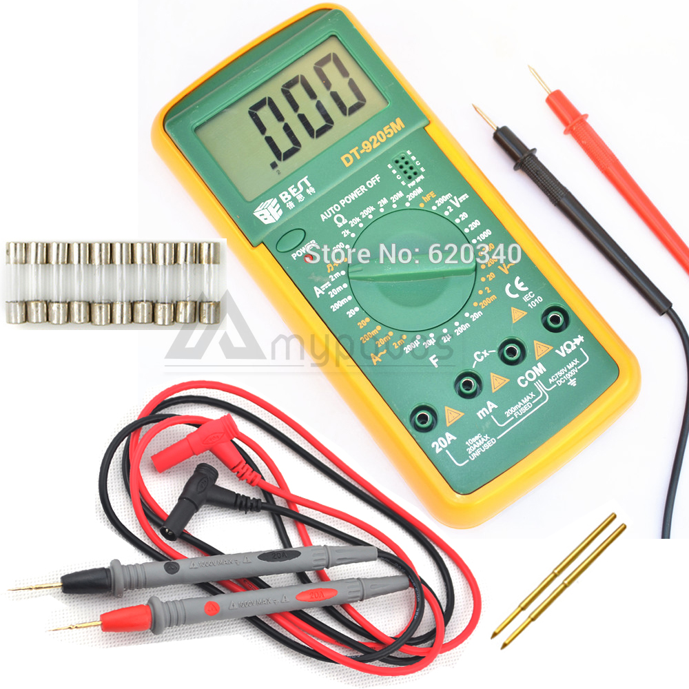 Best Dt9205m Lcd Digital Multimeter Voltmeter Ohmmeter Ammeter Schematic Diagram Indicating The Power Supply And Capacitance Tester Glass Fuses Probe Wire Pen Cable In Multimeters From Tools On