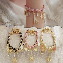 Fashion Jewelry Multielement Gold Color Chain Leather Rope Crystal Handmade Poker Bracelets for Women Eiffel Tower Star Pendant