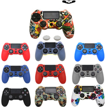 For PS4 Controller Gamepad camo Silicone Rubber Skin Case Protective Cover with 2 thumbsticks Grips Cap protective silicone sleeve case for ps4 controller white