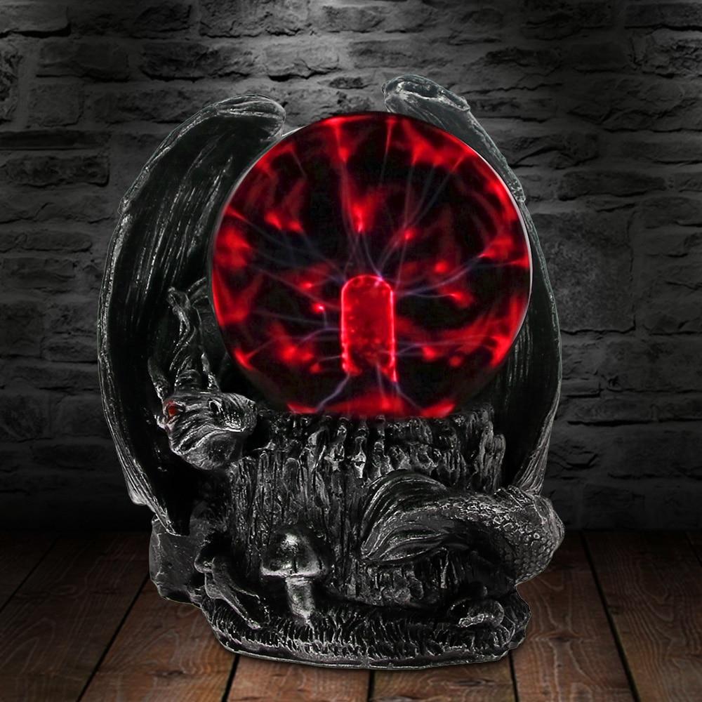 Готический средневековый Дракон Guardian Электрический плазменный шар настольная лампа Птерозавр ужас освещение волшебный свет статуя фигурк...