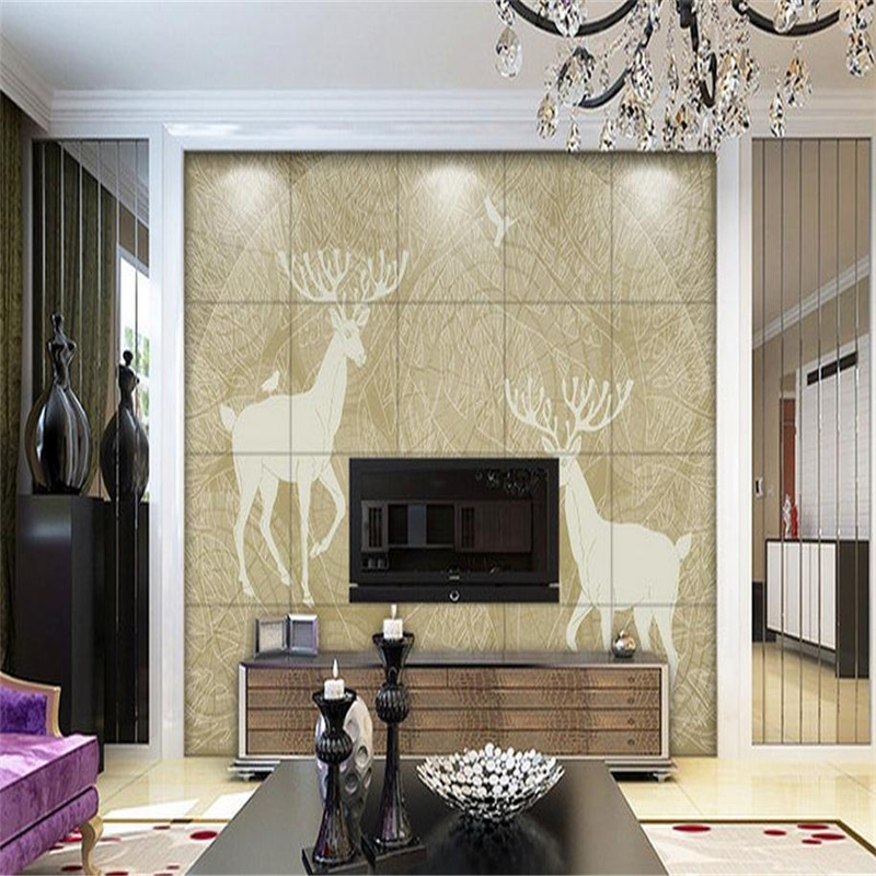 custom 3d photo wallpaper modern large living room bedroom background wall mural hand-painted tree forest bird elk wallpaper custom baby wallpaper snow white and the seven dwarfs bedroom for the children s room mural backdrop stereoscopic 3d