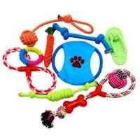 Giocattoli del cane 6/10 Pack Gift Set Sacchetto Libero Corde con Nodi Ossa Balls Frisbee Chew Squeak Anatra Peluche Giocattolo Notizie