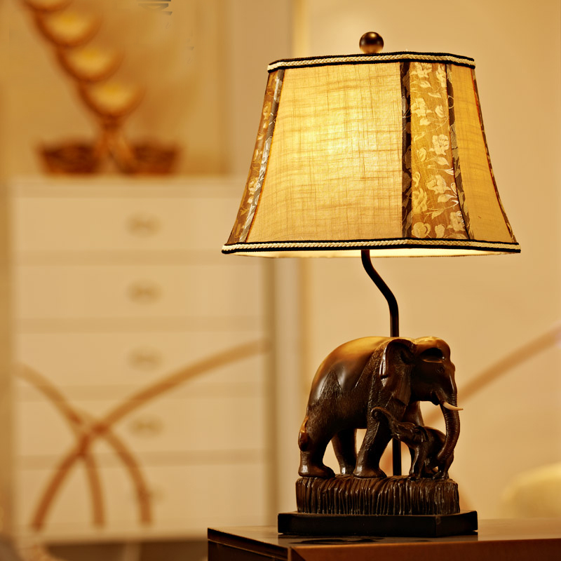 Brown Resin Elephant Led Desk Lamp Lustre Modern Table Lamp Reading Light  Bedroom Bedside Lights Fabric Lampshade Home Lighting  In Table Lamps From  Lights ...