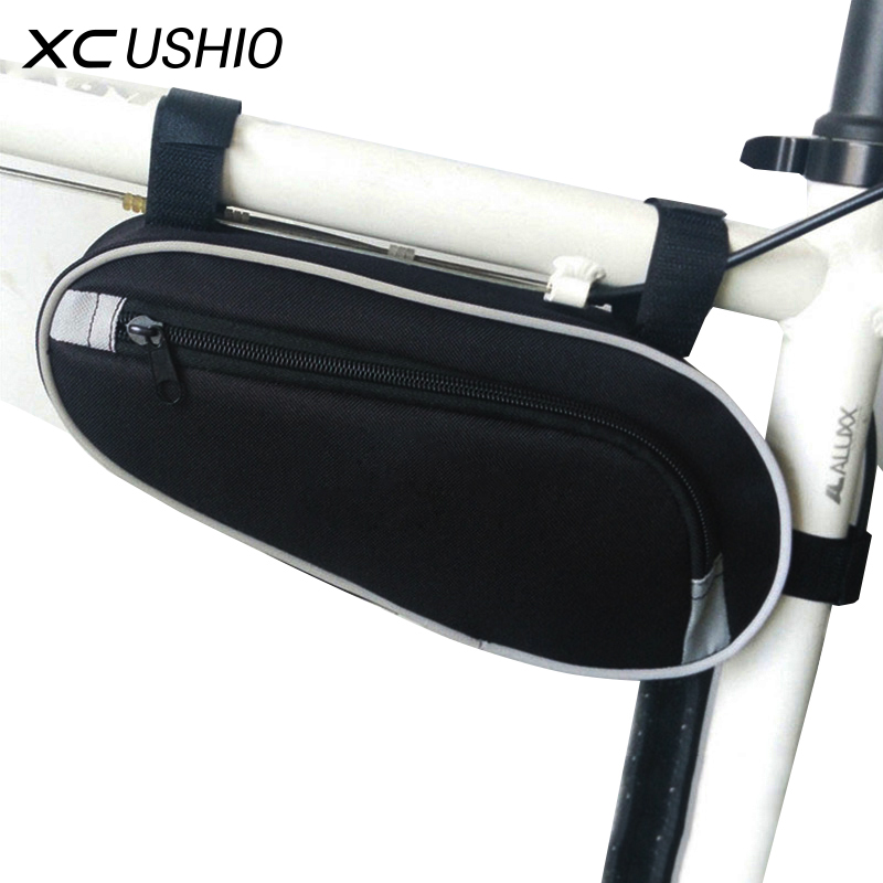 Black Color 11' Wear Resisting Outdoor Cycling Bicycle Triangle Bag Mountain Bike Front Tube Frame Bag Waterproof Pouch Bag outdoor bike bicycle upper tube bag silver black
