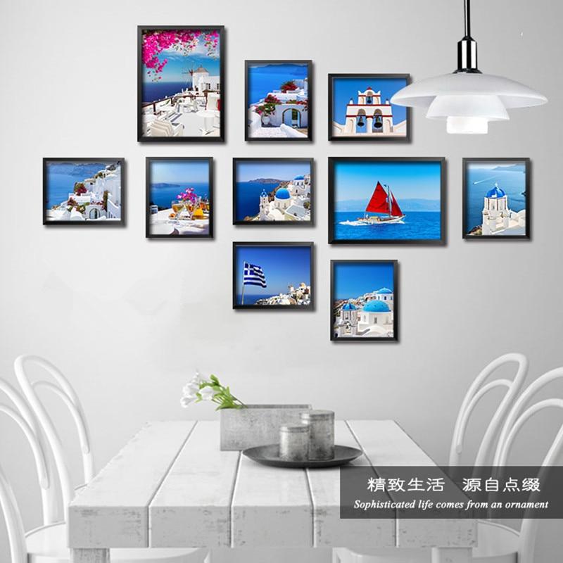 Mediterrane stijl landschap gebouwen Art Canvas Print schilderij Poster muur foto voor woonkamer Home Decor No Frame
