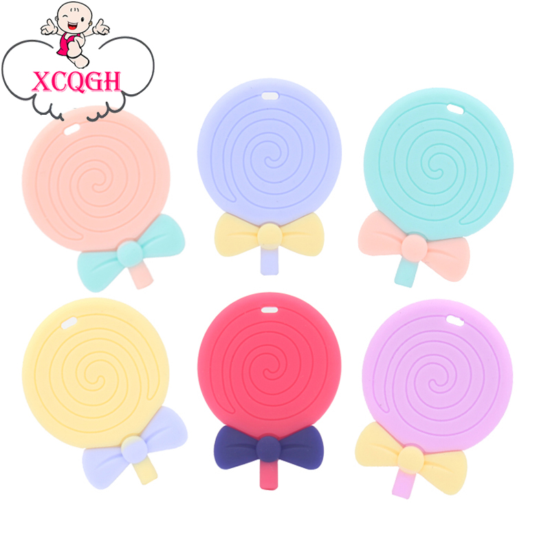 XCQGH 1pcs Lollipop Silicone Baby Teether Boy Girl Cute Chew Teethers Teething BPA Free DIY Necklace Pendant