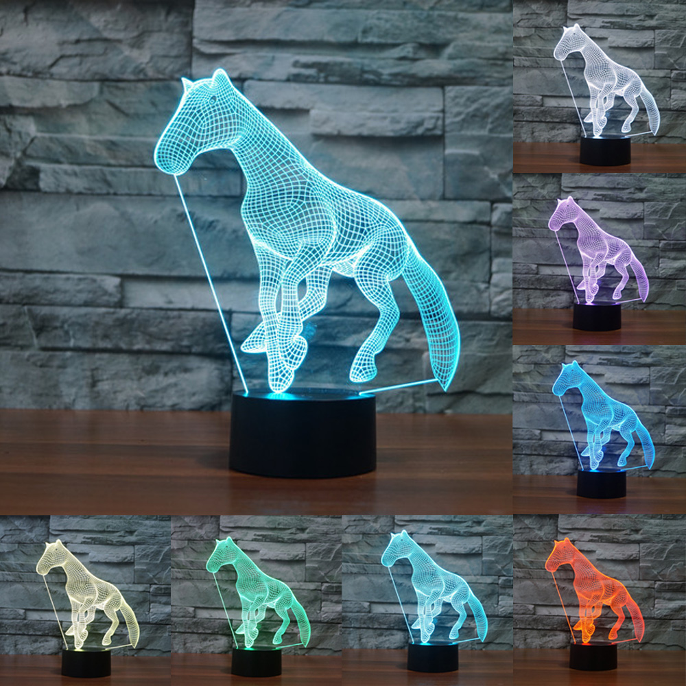7 Color Horse Lamp 3D Visual Led Night Lights Touch USB Table Lampara Lampe Baby Sleeping Nightlight Home Decoration IY803555