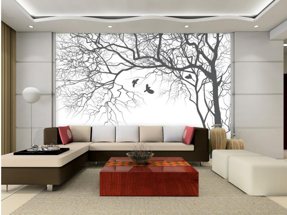 3d wallpaper picture more detailed picture about living for Black and white tree wallpaper mural