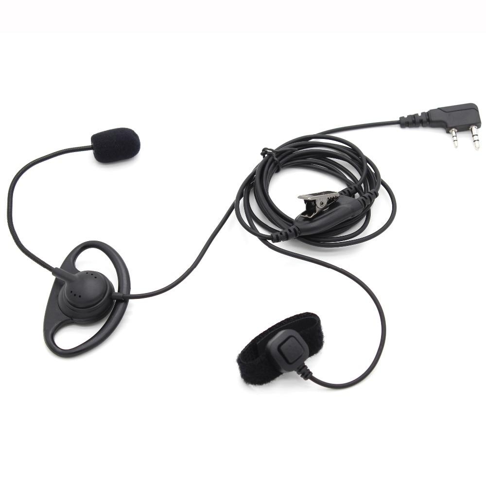 imágenes para 2 Pin D Forma Earhook Auricular con el Dedo PTT Del Auricular + mic para kenwood baofeng uv-5r gt-3tp uv-82hp bf-f8 bf-888s px-888k tyt