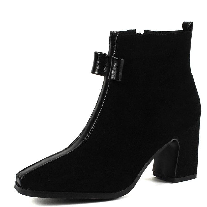 Alto De Básicas Tacón 1new Mujer negro Elegante Nudo Las Fedonas Oficina Mariposa Invierno Cuero Botas Tobillo Zapatos 1 Gamuza Mujeres Para Cálido Otoño 6qxR5gF