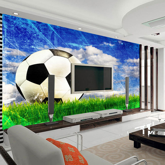 Large mural living room bedroom study paper soccer sports style 3D wallpaper mural