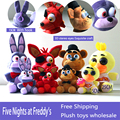 25cm Five Nights At Freddy's 4 FNAF Freddy Bear foxy Bonnie Chica Plush Toys stuffed doll kids gift Freddy Fazbear
