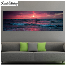 Large 5d diy diamond painting sunset sea waves seascape full square/round drill,mosaic picture embroidery FS5026