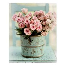 5D Diamont Painting Pink Rose Shabby Chic Beautiful Diamond Embroidery Crystal  Floral Craft