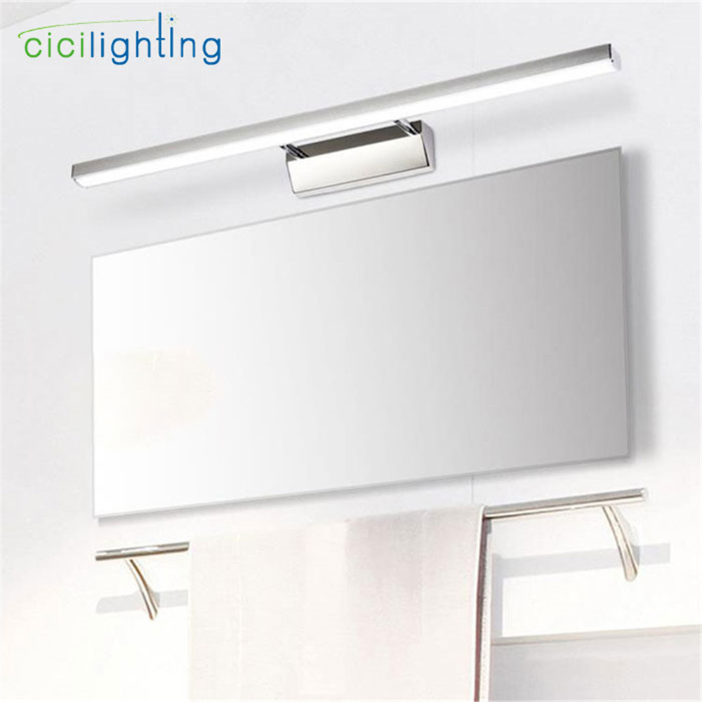 L40/50/60/70cm Modern Stainless Steel Vanity Lights Led Mirror Lamp 7/8/10/12W Bathroom Lamp Wall Lights For Dresser Hotel Home