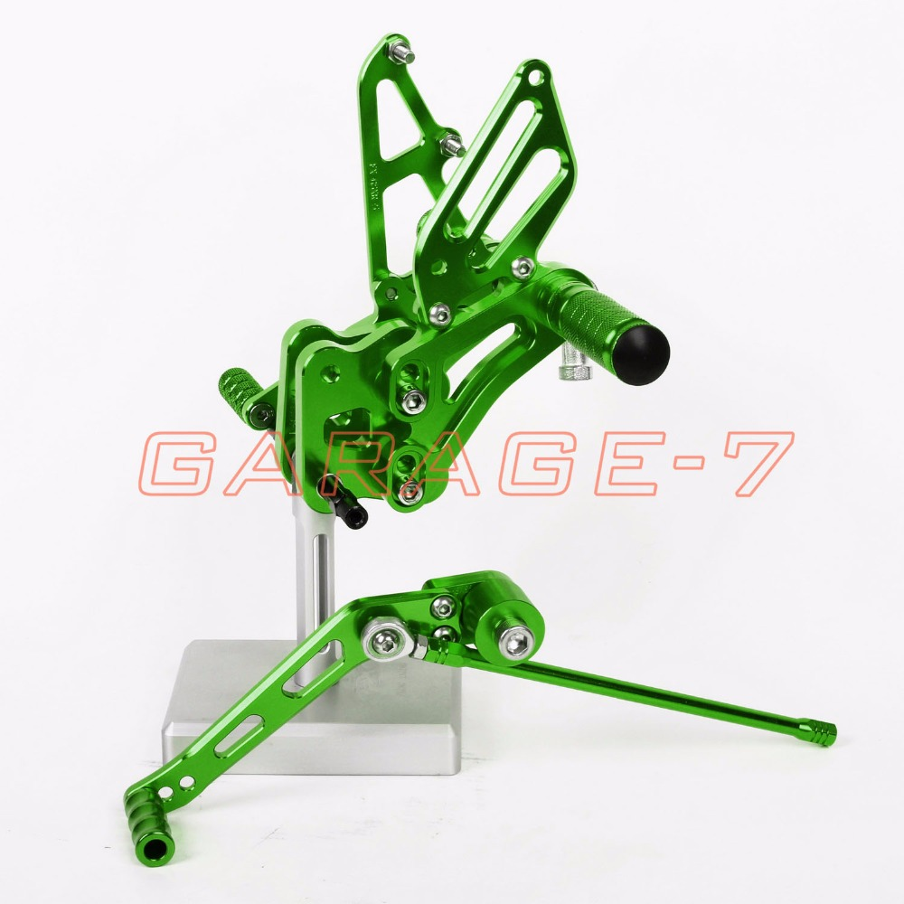 Hot Sale Motorcycle CNC Rearsets Adjustable  Foot Pegs Rear For Suzuki GSXR 600 GSXR 750 2006-2010 Green  Motorcycle Foot Pegs
