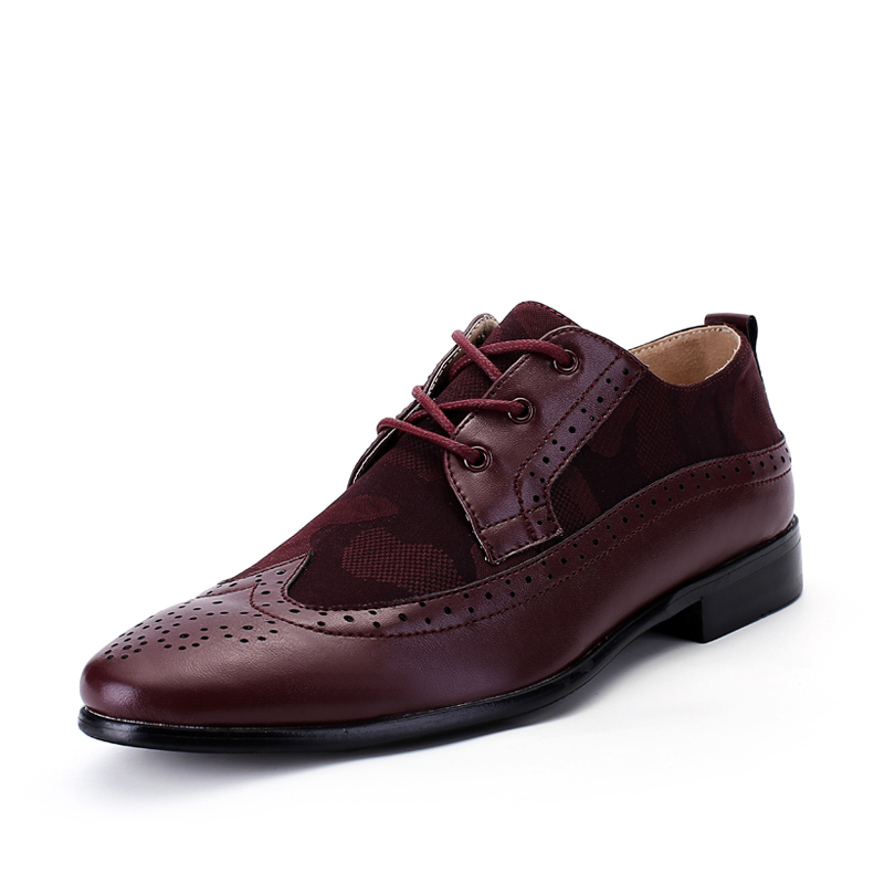 Hombre-Camo-Flat-Classic-Hombres-Zapatos-de-Vestir-de-Cuero-Genuino-Negro- Rojo-Burdeos-Wingtip-Tallada.jpg a95ebd5ef69d